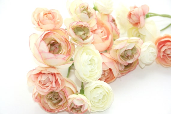 20 mini ranunculus in peachy pink tones and white silk flowers 20 mini ranunculus in peachy pink tones and white silk flowers artificial flowers millinery flower flower crowns item 0125 from simplyserrafloral on mightylinksfo Gallery