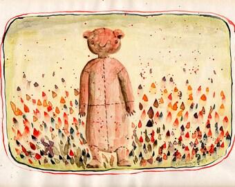 original work, vintage illustration, watercolor, retro painting, Home Décor, bear, tulips, circus, title: BuBu