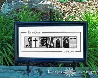Custom WEDDING GIFT Alphabet Photography Name Frame Print 10x20 (Unframed)
