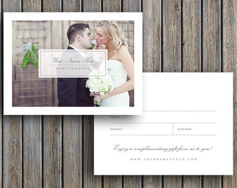 Photographer Gift Certificate Template - Gift Card Design for Photoshop - Wedding Photo Gift Card Templates
