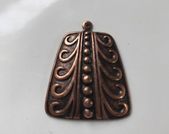 35mm Antiqued copper filigree design solid pendant