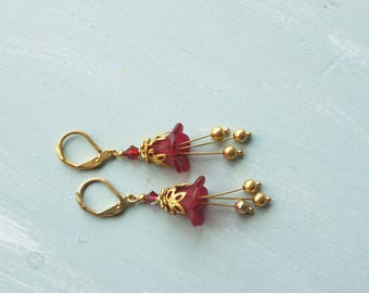 50% off SALE! Earrings,red and gold lucite flower dangle earrings