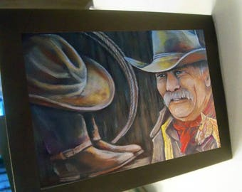 greeting card print of original art-  cowboy gear hat boots rope