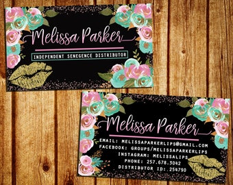 LipSense Business Card - SeneGence Business Calling Card - Double Sided - Watercolor Flower - Personalized - YOU PRINT