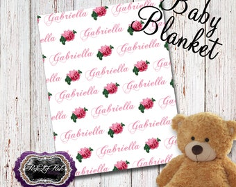 Personalized Rose Baby Blanket Monogrammed with Name Baby Shower Gift perfect for Swaddle and Receiving Blanket Inspired by Subway Art