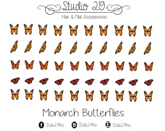 Monarch Butterflies Waterslide Nail Decals