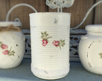 White Shabby Chic Tin Cans Rosebud Roses Lacy Lace Decorative Vase Table Centerpiece Bridal Wedding Home Dorm Nursery Decoration Decor Gift