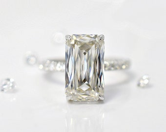 SERENA  12x7 mm 5.00 ct. Crisscut Moissanite Engagement Ring on 14K Gold
