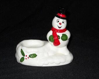Vintage Frosty the Snowman Porcelain Tealight Holder
