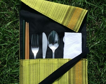 Zero-Waste Cutlery Wrap | Upcycled Fabric | Travel Utensil Roll | Eat Out Without Plastic | Eco Friendly | Waste Free | Unisex Gift