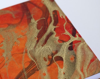 Phoenix- Bright Orange with Red, Black, and Gold Marbling