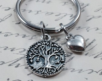 Tree of life keychain, tree keychain, heart keychain, gift for her