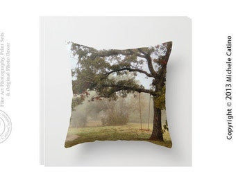 Tree Swing Dreamy Woods Secret Garden Wooden Swing Moss Greens Tree Fog Golden Greens Throw Pillow Cover