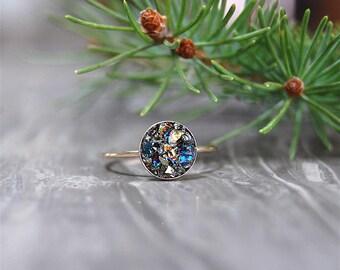 Crushed Crystal Druzy 14kt Gold CIRCLE Ring