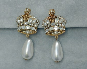 Showstopper Bridal SERBIN Earrings Crowns Rhinestone Pearl Dangles  Vintage Signed Clip