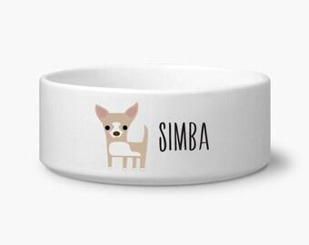 Custom Chihuahua dog bowl, Chihuahua personalized dog food bowl, custom name, Chihuahua gift