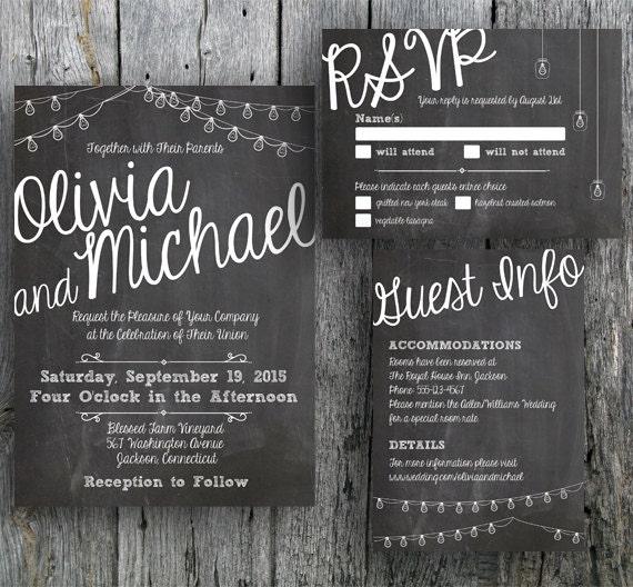 Diy Chalkboard Wedding Invitations: Items Similar To Chalkboard Wedding Invitation Suite