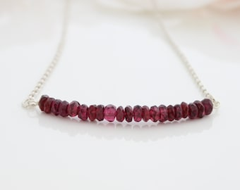 Garnet bar necklace • Garnet gemstone beads on a sterling silver necklace • January birthstone necklace