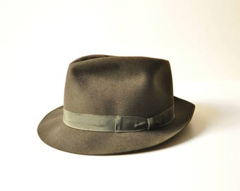 Midcentury Men Italian Borsalino Martora Hat - Size 4 1/2 - Fedora - Deep Green - Forest Green