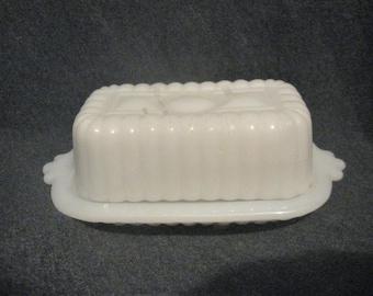 MILK GLASS Small Butter DISH 1/2 Stick Hazel Atlas