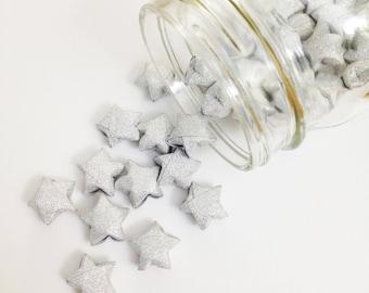 48 Silver Origami Stars: Metallic Glitter - No Shed - Mini Stars - Star Decorations - Paper Stars - Baby Shower - Lucky Stars - Silver - W