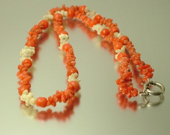 Antique vintage 1800s Georgian real carved salmon and white branch coral bead necklace - 11 grams, jewellery jewelry