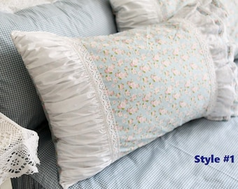 Pair of Chic Arts: Rustic Cottage 100% Cotton Blue Small Floral Plus Frills and Lace Pillow Shams, Pillow Cases BC017