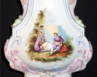 Antique 1880'S Sitzendorf Porcelain Vase German Porcelain Urn Bisque Off White Pink Lavender Floral Design Flower Vase Collectible