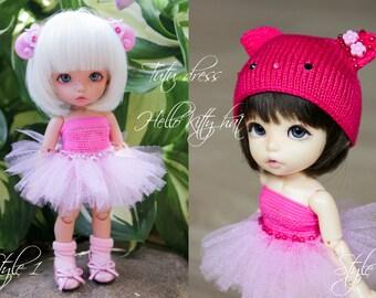 Tutu dress. Hello Kitty / Smiling Cat hat for Pukifee/ Lati Yellow and similar tiny, 1/8 BJD dolls