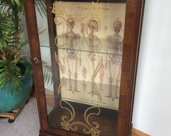 Vintage Upcycled Steampunk Medical Skeletal System display cabinet, unique piece