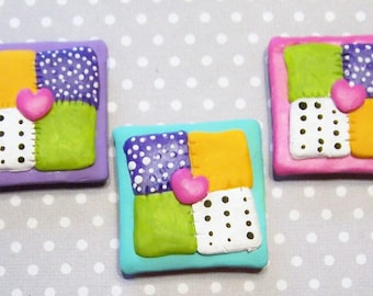 Magnets, Quilt, Quilting Bee, Home Decor, Colorful, Pink, Teal, Handmade, Free Shipping, Set of 3, Kitchen Decor, Mothers Day, Housewarming