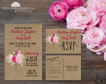 Cherry Rustic Mason Jar Wedding Invitation with Save the Date and RSVP, Envelope Included