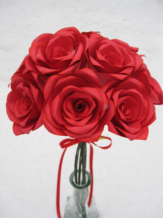 Red Paper Roses. Or CHOOSE Your COLOR. Anniversary, Wedding, Shower, Home, Decoration. Custom Orders Welcome.