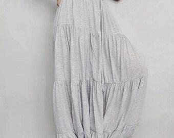 Women Ruffle Long Pant, Casual Gypsy,Yoga, Bohemian ,Soft Gray Cotton Blend(Pant-R2).