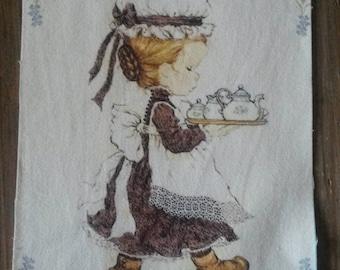 Fabric tile 15 X 20 cm / sew or glue / girl illustration