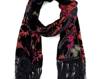 Women's Vintage Black & Tan/Pink Branch Fringe-Trim Silk-Blend Scarf
