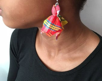 Red Madras fabric leaf earring