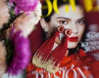 Red Gold ombre tassel earrings Long statement earrings Bridesmaid fringe earrings Wedding earrings Swarovski evening earrings PROM earrings