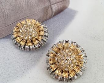 VINTAGE clip Earrings by SPHINX - crystal flower