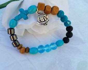 Essential Oils Bracelet Oil Diffuser Lava Stone Wood Turquoise Our Lady of Guadalupe Medal Locket Glass Bead Stretch Bracelet Gifts For Her