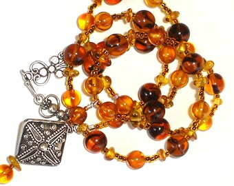 Baltic Amber Necklace with Charm Bali Sterling silver