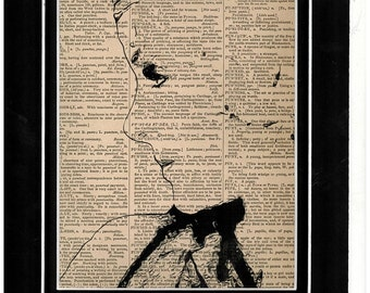 28 Side profile of Jean Harlow on vintage dictionary paper/art print