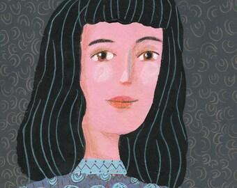 woman portrait  Original illustration, wall decor, folk art, home decor