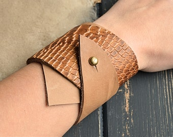 Chunky double wrap bracelet cuff Beige leather wrist cuff Thick   asymmetrical bracelet Wide statement leather cuff Beige rustic wrist cuff