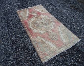 FREE SHIPPING! Oushak Rug 6.8x3.5ft Vintage Mute Red Rug Distressed Rug Turkish Rug ,Rug Muted Color Rug Overdyed Rug Lowpile Rug