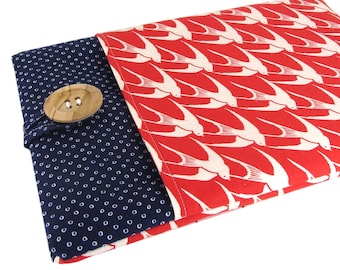 """Women's Laptop Sleeve 15.6"""" - Custom Sized To Your 15 Inch Laptop - Padded With Pocket, Nautical Bird Fabric"""