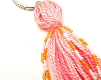 Beaded Tassel Keychain in Pink and Orange: Sherbet Tassel Keyring