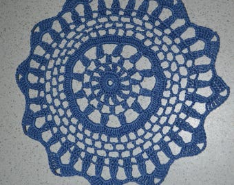 Hand made blue doily, 21cm, made with fine cotton crochet