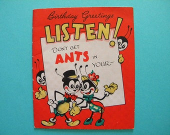 Vintage Birthday Card Anthropomorphic Ants in your Pants Signed