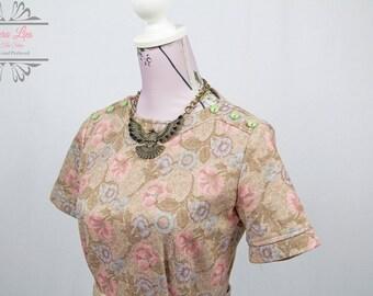 Vintage 60s Floral Wiggle Dress Size S